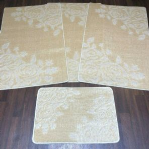 .ROMANY MATS WASHABLES FULL SET MATS L BEIGE NEW ROSES REGULAR SIZES NON SLIP